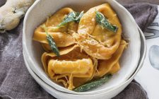 Pumpkin tortellini with goats cheese ricotta and sage