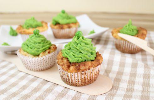 Muffin vegani di patate e mousse di piselli