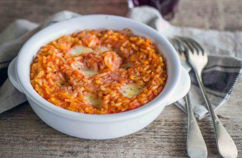 Riso al forno, pomodoro e mozzarella