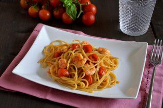 Spaghetti con gamberi, classico primo piatto di mare