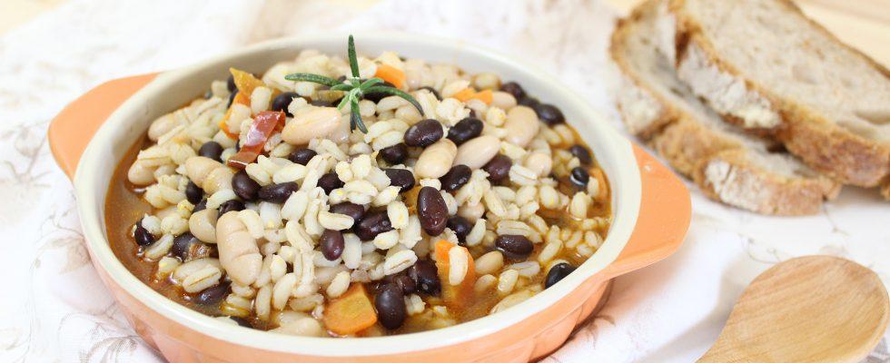 Zuppa orzo e fagioli, nutriente