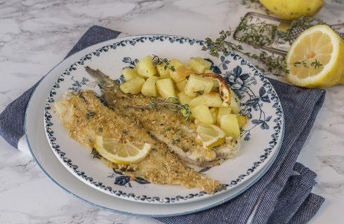 Sogliola al forno con limone e timo, con patate