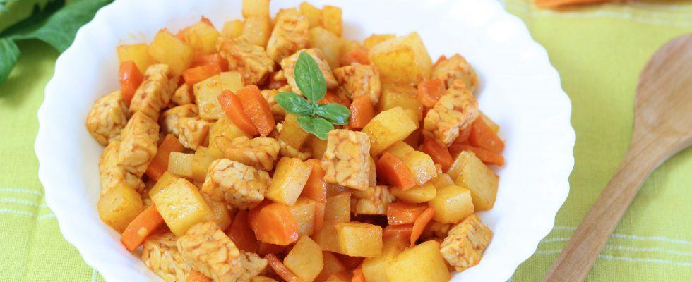 Spezzatino di tempeh, viva la cucina vegan