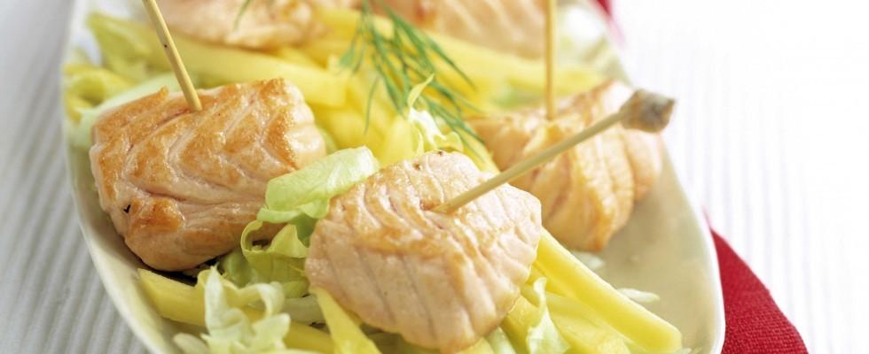 Bimby: bocconcini di salmone con insalata di mango