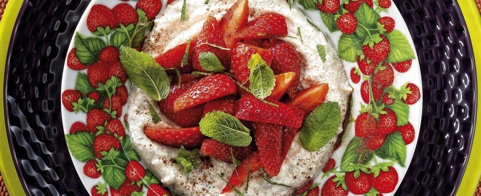 Bimby: crema mascarpone e ricotta con fragole e menta