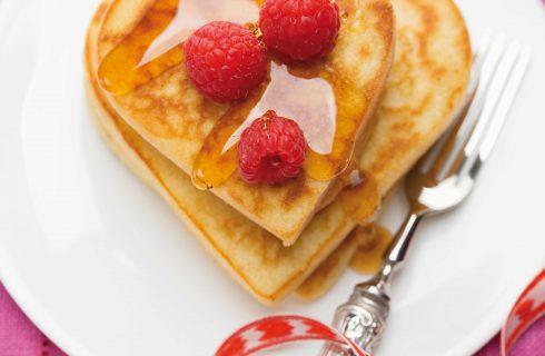 Bimby: cuori di pancake con lamponi e sciroppo di acero