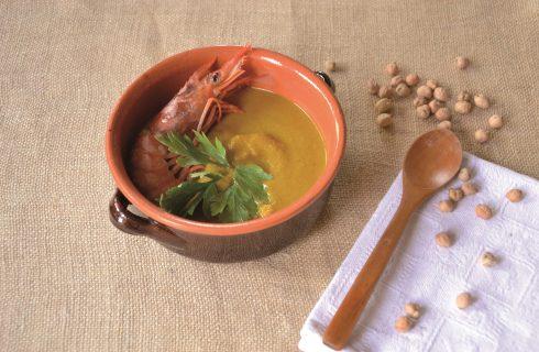 Crema di ceci con code di gambero speziate con bimby