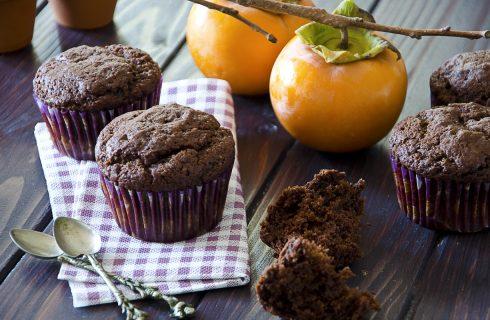 Muffin ai cachi, dolcetti vegani senza burro e uova