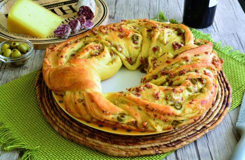 Angelica con salame, pecorino e olive: realizzarla con il bimby