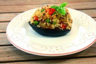 Melanzane ripiene di riso vegetariane, bimby in cucina
