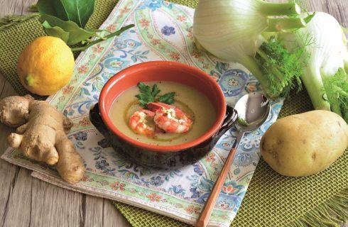 Leggeri e gustosi: gamberi marinati su crema di finocchi fatti con il bimby