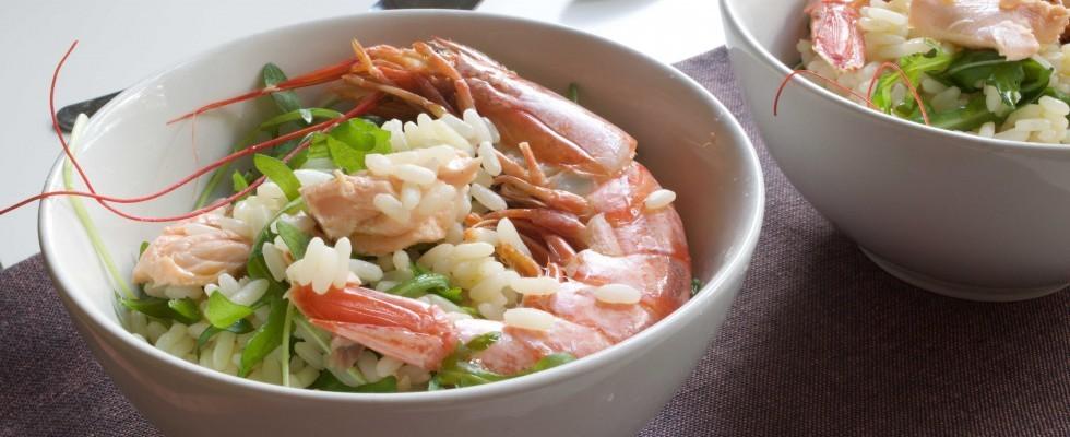 Bimby: insalata fredda di riso con rucola, gamberi e salmone