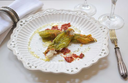 Filetti di spigola in fiori di zucca con bimby