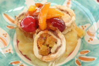 Involtini di tacchino alla frutta, piatto agrodolce da fare con il bimby