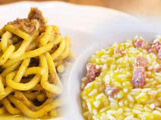 bigui-con-li-sardeli-e-risotto-zucca-e-salsiccia