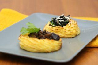 Cestini di purè: nidi di patate ripieni di funghi o spinaci