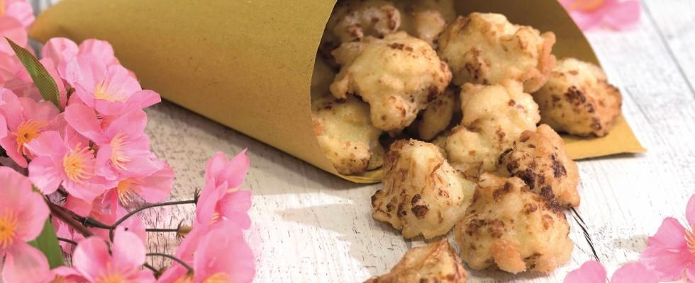Cimette di cavolfiore in tempura, un finger food vegetariano