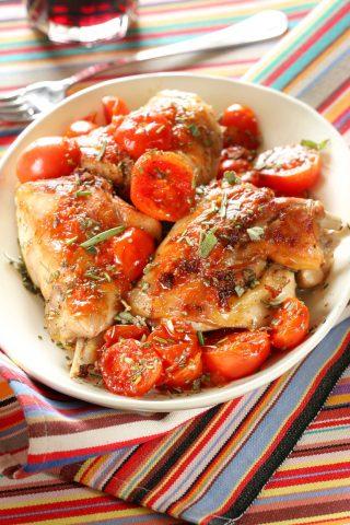 Coniglio con pomodorini e origano: ricette estive con il bimby