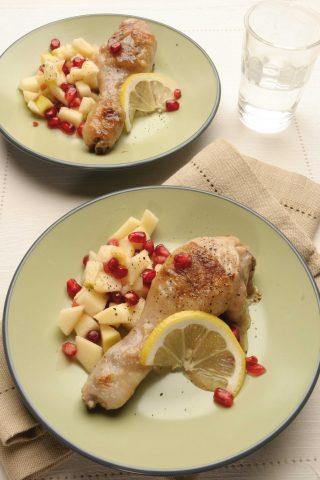 Bimby: cosce di pollo con mele e melagrana