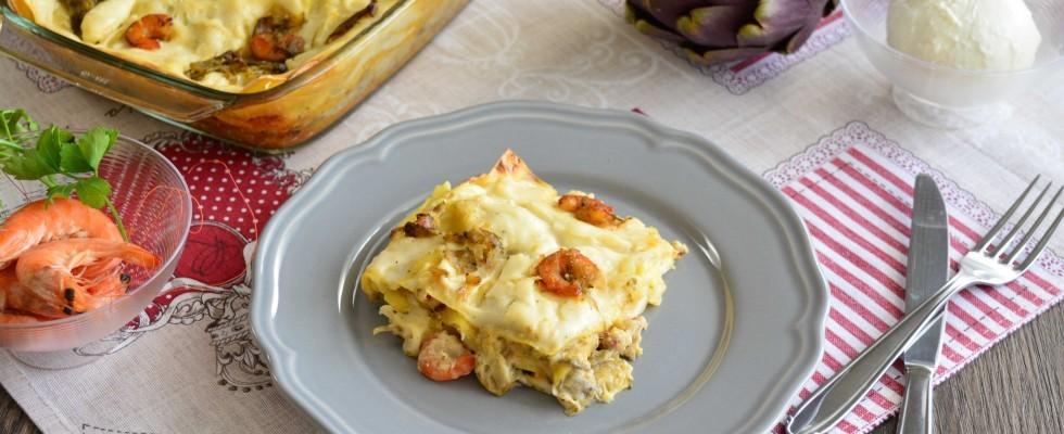 Lasagna bianca con gamberi e carciofi: la ricetta con il bimby