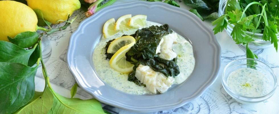 Merluzzo con di spinaci con salsa al limone: con il bimby