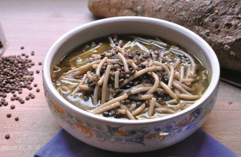 Per l'inverno: minestra di lenticchie e spaghetti spezzati, fatta al bimby