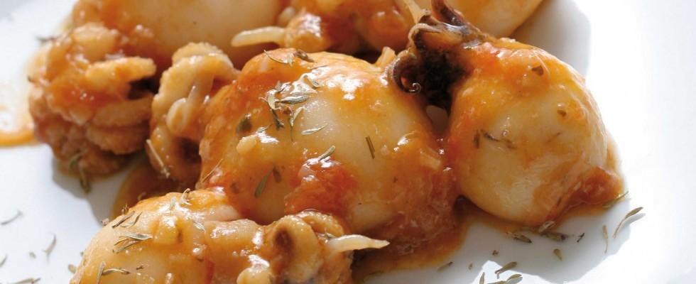 Moscardini con salsa di pomodoro, più facili con il bimby