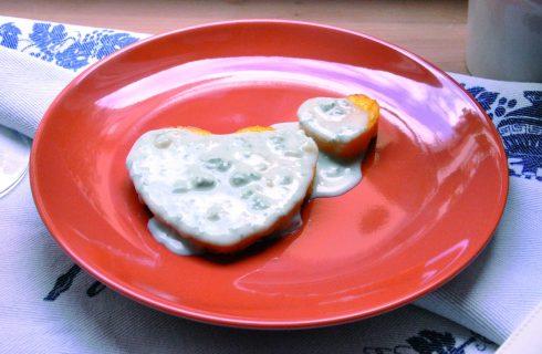 Cuori di polenta con crema al formaggio al bimby