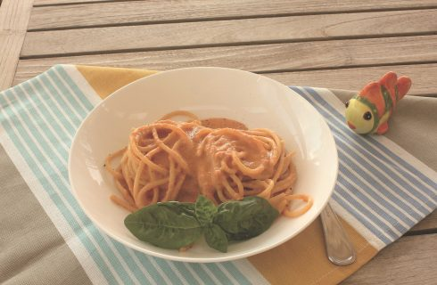 Pasta cremosa agli scampi, primo piatto di mare con il bimby