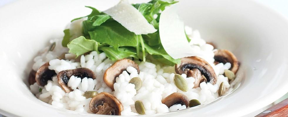 Bimby: il risotto ai funghi, rucola, semi di zucca e parmigiano