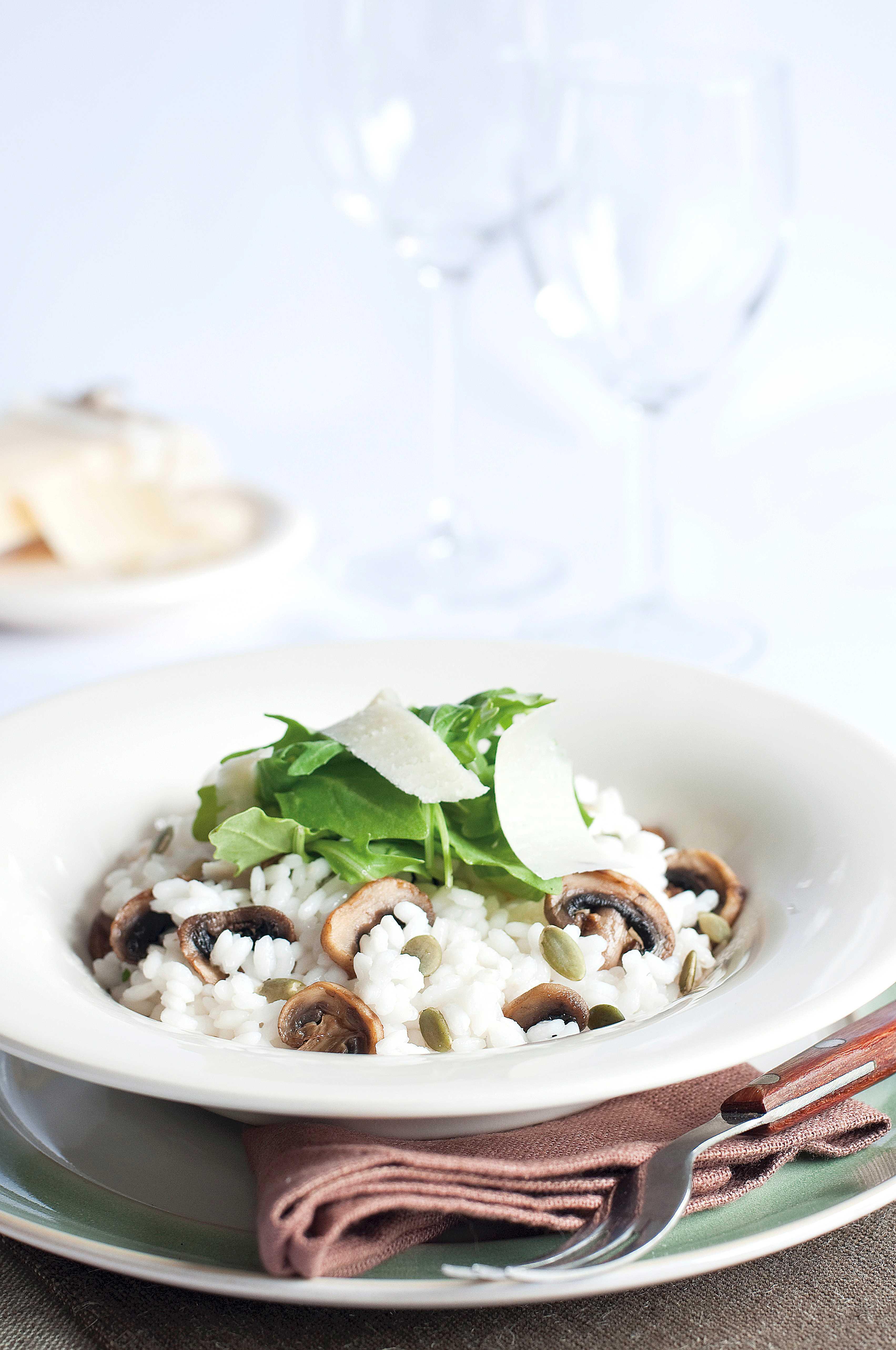 Ricetta Risotto Funghi E Rucola.Ricetta Risotto Ai Funghi Rucola Semi Di Zucca E Parmigiano Con Il Bimby Agrodolce