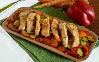 Controfiletto di pollo con verdure, secondo leggero