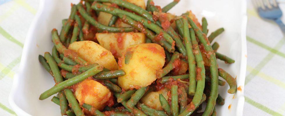 Fagiolini in umido con patate, contorno leggero