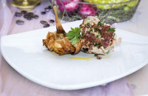 Burger di palamita e fiore di carciofo croccante, fish-burger di classe
