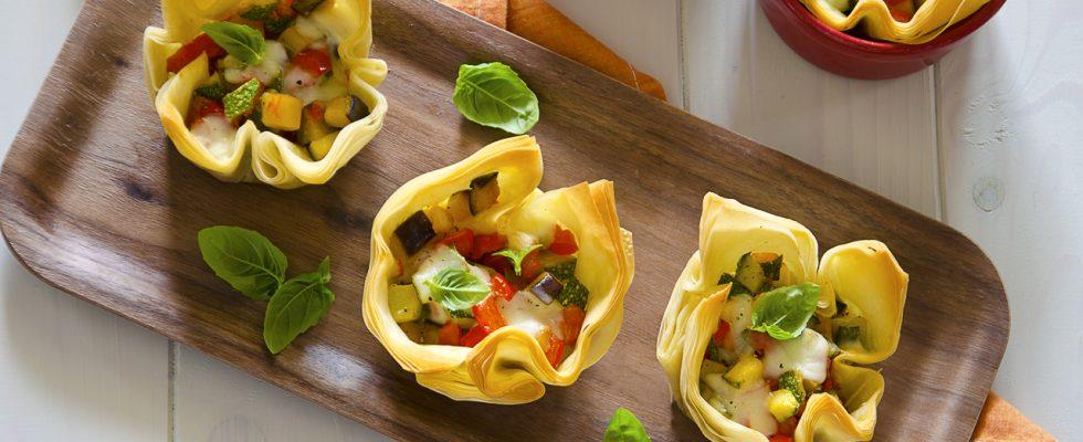 Cestini alle verdure con pasta fillo: per l'aperitivo estivo