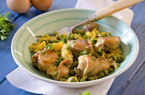 Coniglio uova e piselli, secondo piatto ricco