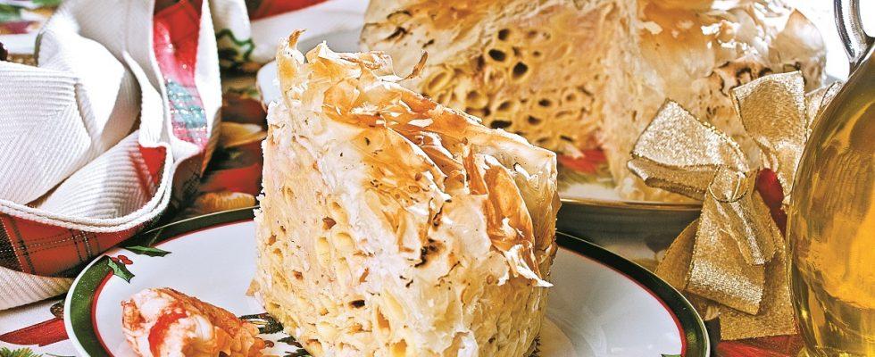 Fagotto di pasta fillo con garganelli e gamberi, un primo piatto di pesce