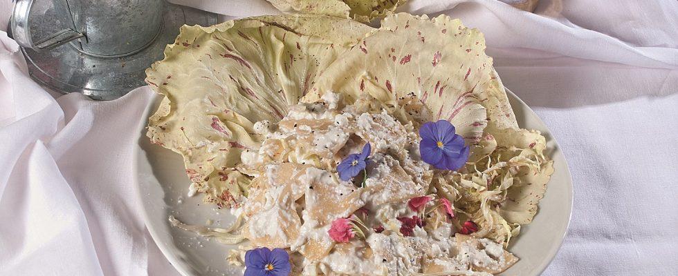 Farfalle con crema di ricotta e radicchio: pranzo autunnale