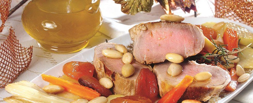Filetto di maiale alla birra con mandorle e albicocche, un secondo agrodolce e gustoso