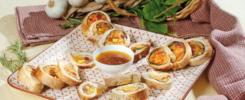 Filetto di maiale con spinaci, mirtilli e pistacchi, un secondo piatto appetitoso e delicato