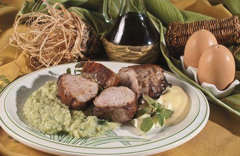 Filetto di maiale su crema di broccolo romanesco, un secondo veloce