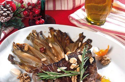 Filetto di manzo alla frutta secca con indivia caramellata, un secondo per le feste natalizie