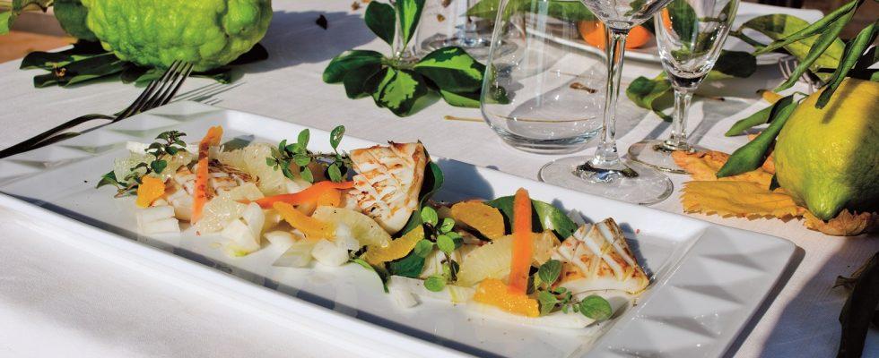 Insalata tiepida di seppie, arancia e pompelmo: una coloratissima insalatona