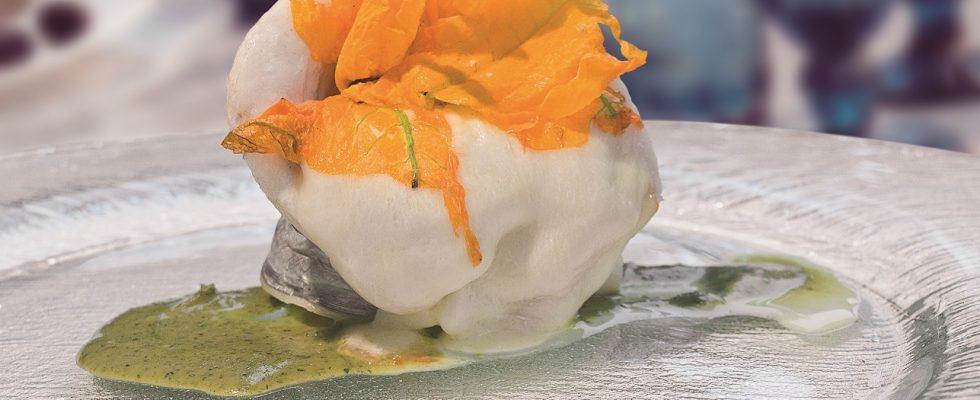 Pesce bandiera e mozzarella su crema di basilico, un secondo piatto veloce e sorprendente