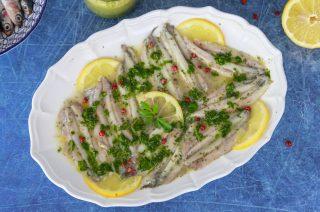 Alici marinate al limone, antipasto leggero