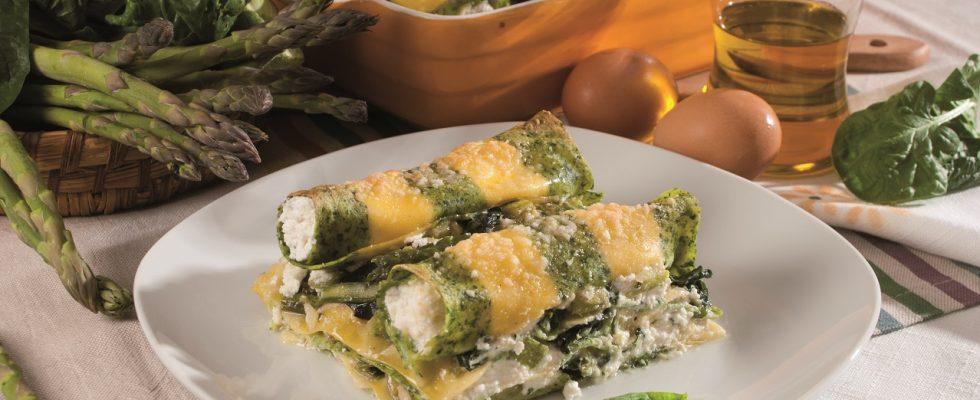 Lasagna gialla e verde con cannelloni farciti, un primo vegetariano e fantasioso