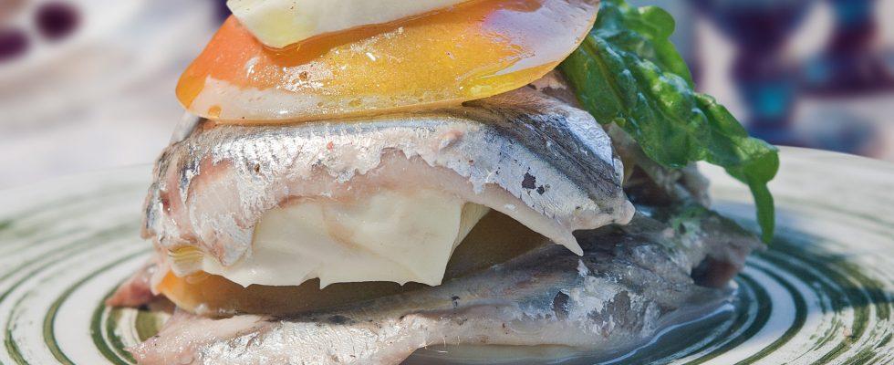 Millefoglie con alici, pomodoro e mozzarella, un secondo di pesce raffinato e gustoso