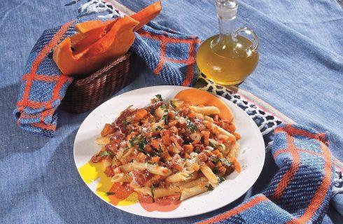 Penne alla zucca con pancetta croccante, un primo piatto autunnale