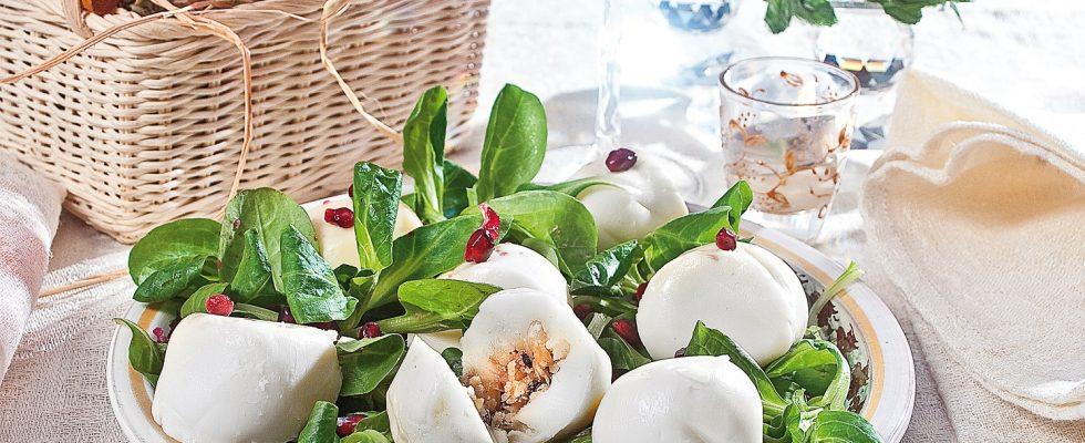 Praline di mozzarella ripiene di frutta secca, un antipasto a sorpresa