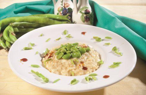 Risotto al dolcetto con fontina e fave, un primo agrodolce e delicato